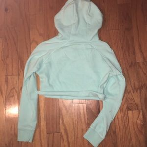 Gymshark Tops - Gymshark pale turquoise cropped crest hoodie small